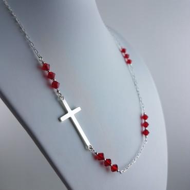 Collier Croix Perles Swarovski
